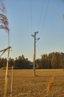 Strommast, Line, Wood, Grass, Sky, Blue