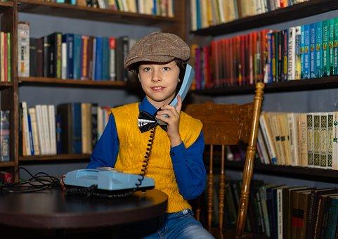 Boy, 70S, Phone, Calling, Call, Kids