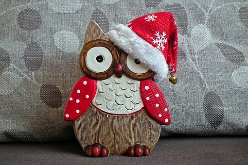 Sowa, Holidays, Decoration, Cap, Christmas
