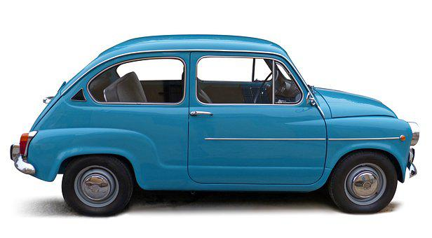 Car, White Background, Old, Vintage, Blue, Classic