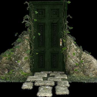 Creepy Doorway, Steps, Stone, Vines, Old, Closed