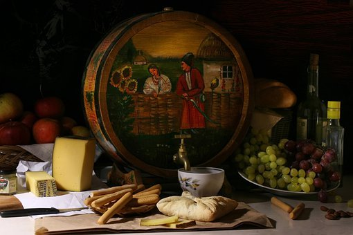Still Life With Painted Barrel, Peasant, Dinner, Cheese