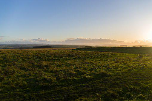 Hadrian's Wall, The North Of England, Landscape, Dusk