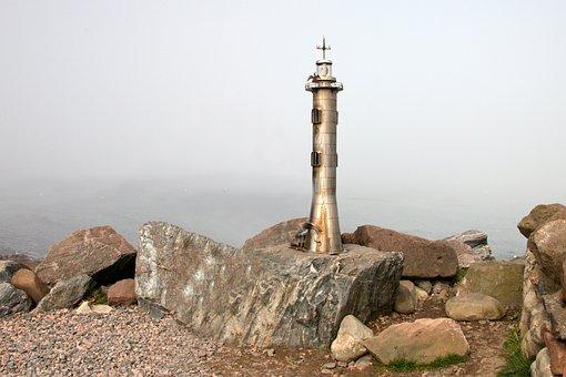 Lighthouse, Stone, Cliff, Fog, Rock, Sea, Coast, Trip