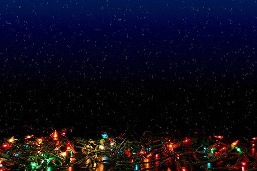 Holiday Lights, Christmas, Snow, Snowfall, Celebration
