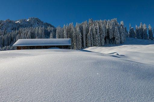 Winter, Landscape, Alpine Hut, Mountains, Snow, Nature