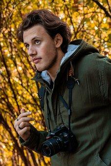 Guy, Photographer, Nikon, Happy, Trip, Autumn, Leaves