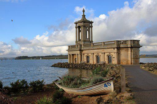 Normanton Church, Rutland Water, England, Boat, Lake