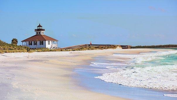 Boca Grande, Beach, Ocean, Florida, Lighthouse, Coast