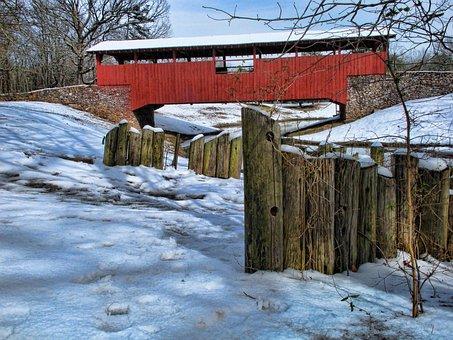 Covered Bridge, Snow, Winter, Park, Cold, Scenic, Creek