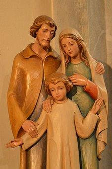 Statue, Family, Three, People, Parents, Child, Joseph