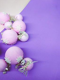 Flat Lay, Christmas Spheres, Pink