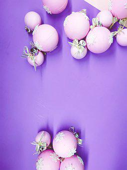 Flat Lay, Christmas Spheres, Pink