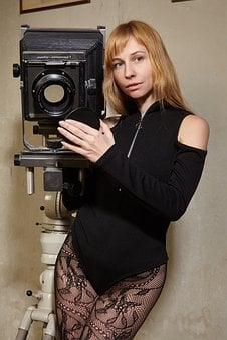 Camera, Girl, Woman, Retro, Phototechnique