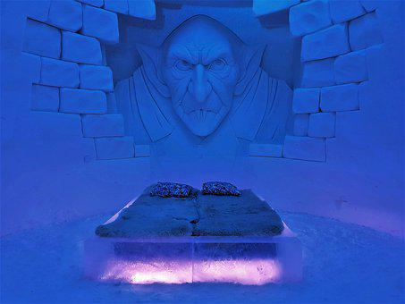 Lapland, Ice, Bedroom, Bed, Room, Hotel