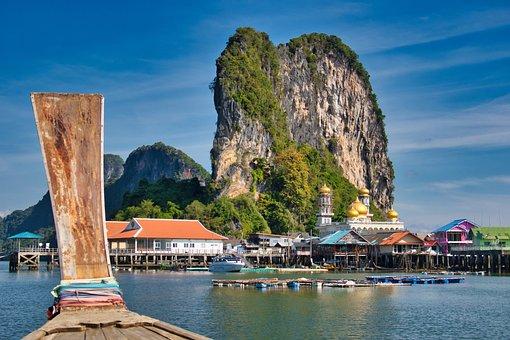 Koh Panji, Rock, House, Sea Gypsies Village, Sea, Sky