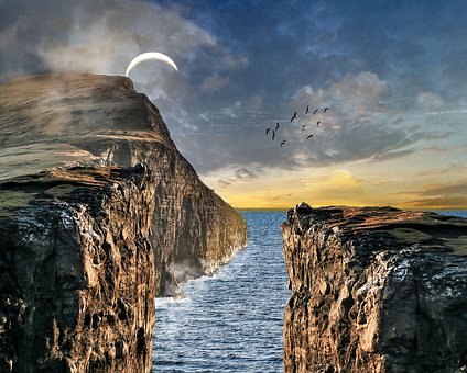 Mountains, Cliff, Landscape, Ocean, Sea, Solar Eclipse