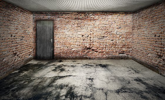 Space, Empty, Garage, Stone Floor, Ailing, Bricks