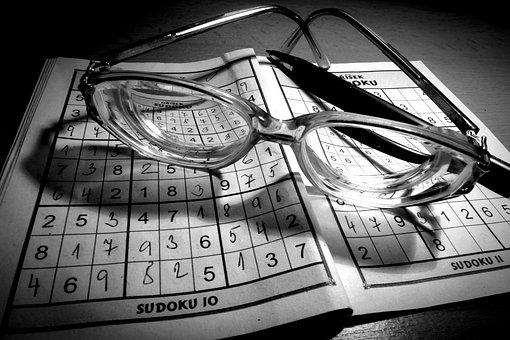Optics, Glasses, Glass, Sudoku, Pencil, Game, Quiz