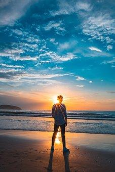 Sunset, Beach, Sky, Clouds, Sun, Summer, Nature