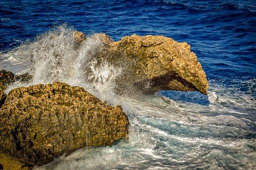 Rock, Wave, Smashing, Water, Spray, Foam, Nature