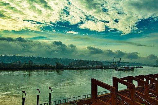 Riverbank, Waterfront, Water, River, Skyline, Landscape