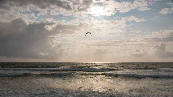 Ocean, Kite Surfing, Wave, Sea, North Sea, Summer