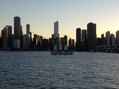 Chicago, Skyline, Water, City, Architecture, Cityscape
