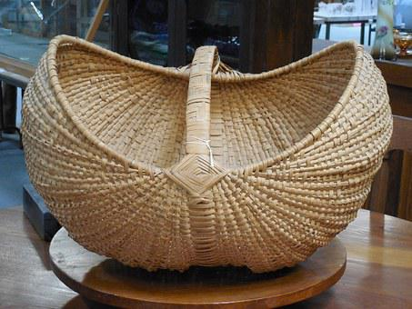 Wicker, Basket, Natural, Design, Table, Home, Brown