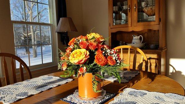 Centerpiece, Bouquet, Arrangement, Roses, Country