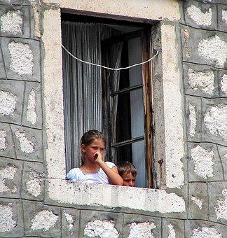 Girl, Boy, Child, Window, Looking, Thinking, Reflect