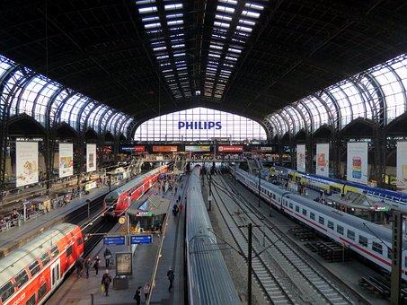 Central Station, Hamburg, Rail Traffic, Platform