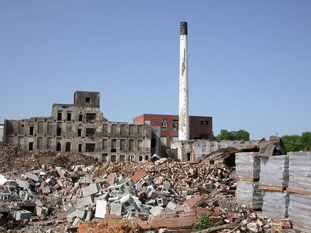 Decay, Wasteland, Factory, Rubble, Concrete Block