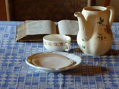 Table, Tablecloth, Plate, Pot, Cup, Book, Lunch