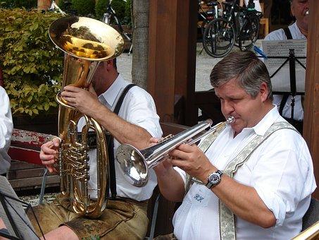 Trumpet, Village Festival, Customs, Men, Leather Pants