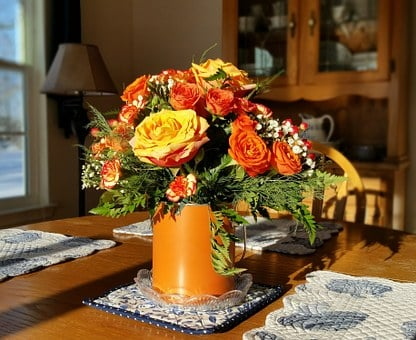 Roses, Flowers, Centerpiece, Bouquet, Pink, Romantic