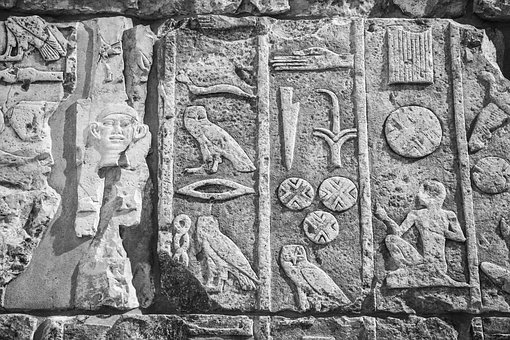Hieroglyph, Old, Stone, Black And White, Sculpture