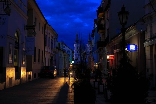 At Night, City, Lights, Miskolc Hungary, In The Evening