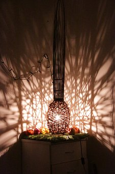 Lamp, Pattern, Light, Shadows, Table, Decor, Indoors