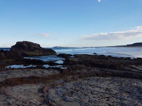 Laurieton Nsw, Rock Pools, Ocean, Seaside