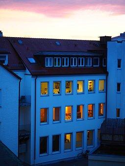 Home, Evening, Lights, Illuminated, Energy