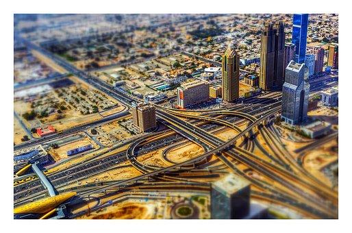 City, Dubai, Night, Hotel, Architecture, Cityscape