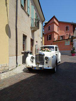Bridal Car, Oldtimer, Romantic, White, Marriage