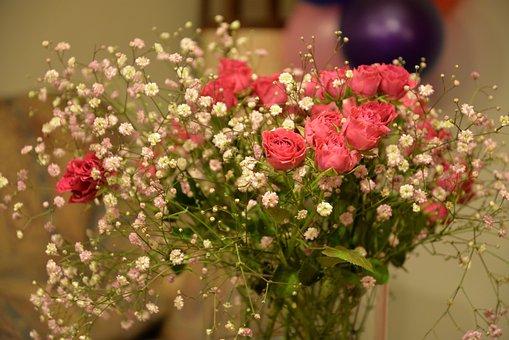 Flower Arrangement, Flowers, Roses, Pink, Bouquet