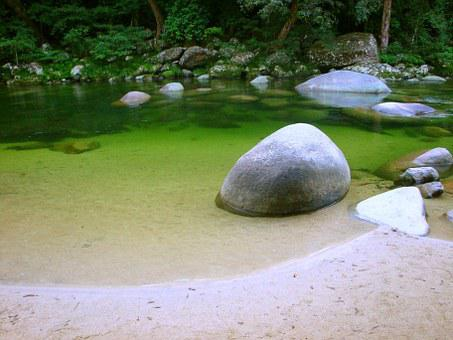 Stone, Rock, Round, Romantic, River, Water, Bach