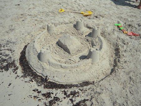 Sandburg, Beach, Sand Beach, Holiday, Children, Sea