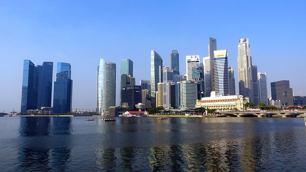 Singapore, River, Skyline, Building, Water, Blue Sky