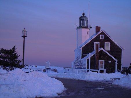 Lighthouse, Winter, Snow, Sunset, Beacon, Coast, Cold