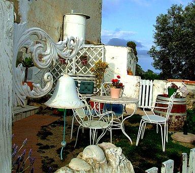 Garden, Patio, Bell, Table, Furniture, Yard, Backyard