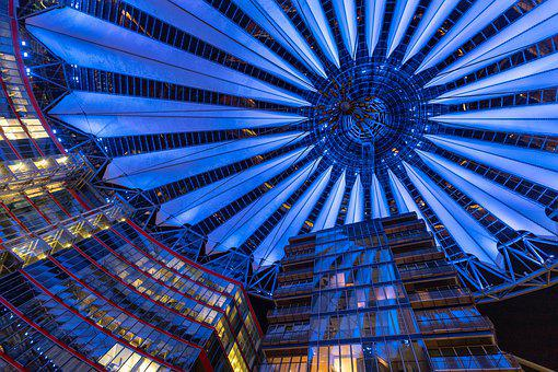 Berlin, Sony Centre, Blue, Architecture, Abstract, Sky
